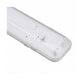 Pantalla estanca fabricada en ABS y PC para 2 tubos Led T8 120cm IP65 conexion 1 extremo
