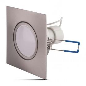 Aro basculante REDONDO PLATA con lampara GU10 5w LUZ BLANCA CALIDA