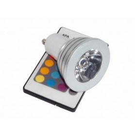 Lámpara RGB led dicroica GU10 3w con control remoto marca edison
