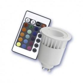Lámpara RGB led dicroica GU10 5w con mando a distancia