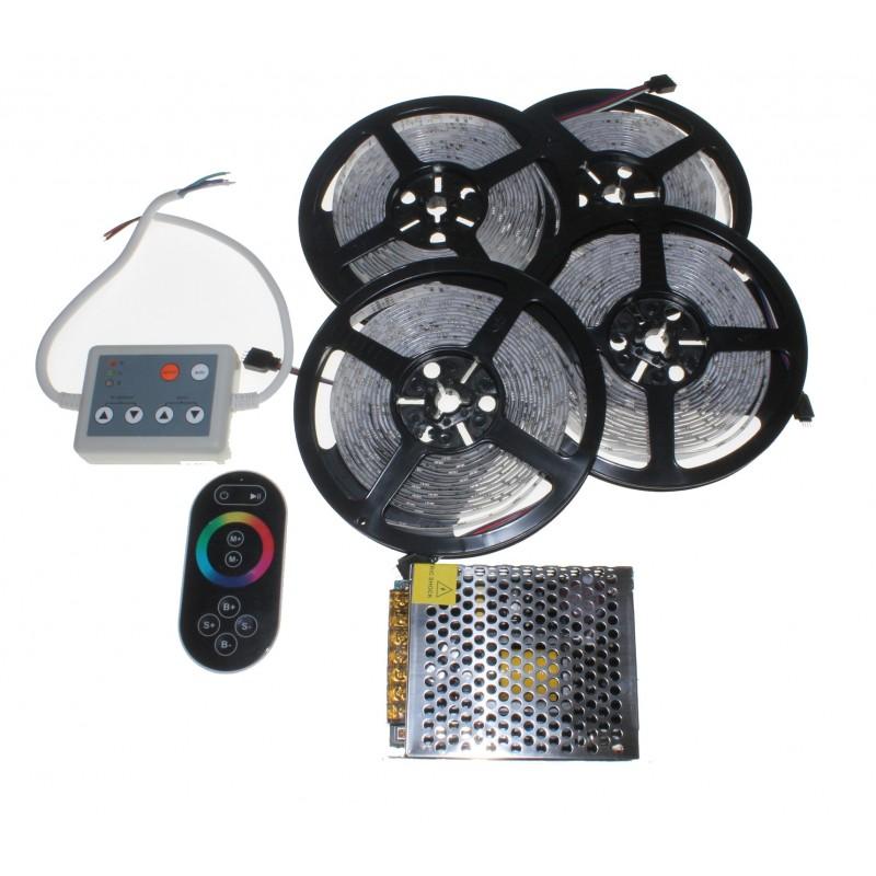 20 metros Kit completo de tira de led RGB para interior y exterior con mando a distancia radiofrecuencia GAMA ALTA.