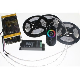 Kit completo RGB de 15 metros TODO INCLUIDO para exterior con mando a distancia radiofrecuencia GAMA ALTA.