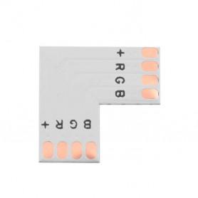 """Unión / conector tipo """"L"""" esquina para tiras LED RGB sin necesidad de soldar."""