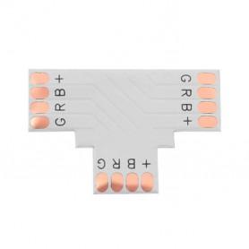 """Unión / conector tipo """"T"""" esquina para tiras LED RGB sin necesidad de soldar."""