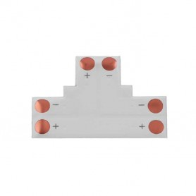 """Unión / conector tipo """"T"""" esquina para tiras LED Monocromo 5050 sin necesidad de soldar."""