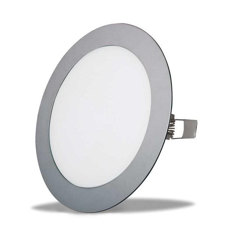 Downlight PLATA CROMADO 18w led ultrafino empotrable 1400 lumenes agujero 205mm