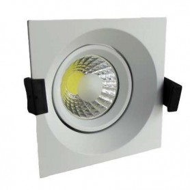 Downlight COB basculante cuadrado Serie O 8w color inoxidable