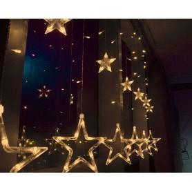 Decoración Navideña tipo ESTRELLAS 2 metros 20 estrellas luz calida