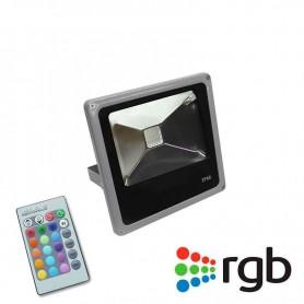 Foco Reflector Interior/Exterior Ultrafino Led 10w RGB con mando a distancia