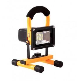 Foco RECARGABLE LED SMD 10w con soporte y cargador casa y coche luz neutra