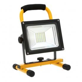 Foco RECARGABLE LED SMD 20w con soporte y cargador casa y coche luz neutra