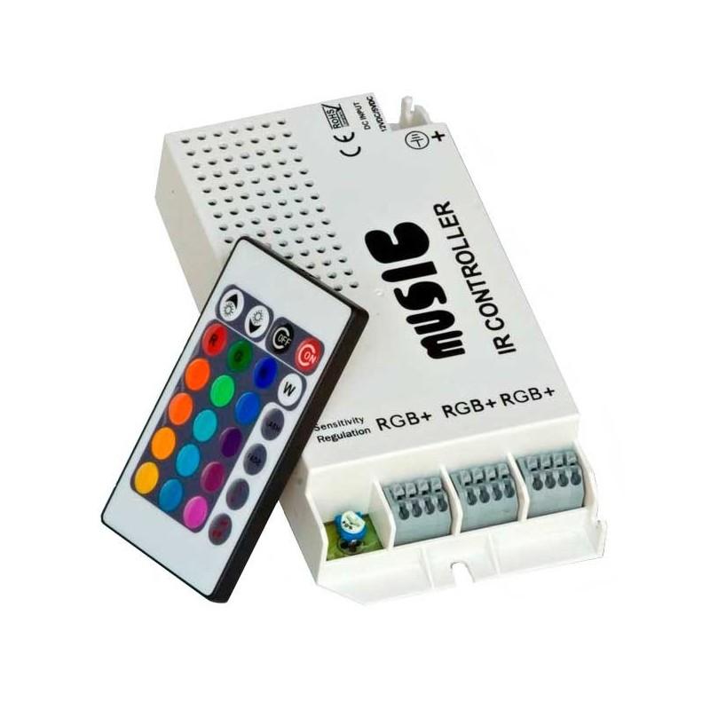 Controlador Led RGB Music 60w 12v con mando a distancia infrarrojo