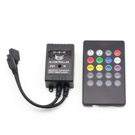 Controlador MUSICAL RGB con mando a distancia 20 teclas 12 / 24v