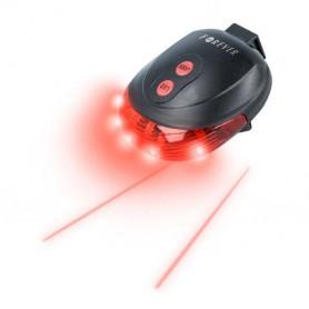 Luz LED y Laser trasera para posicionamiento de seguridad en bicicletas.