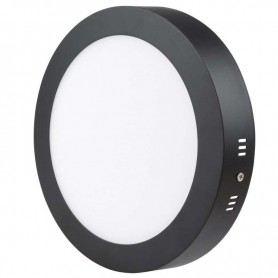 Downlight de superficie redondo 18w led NEGRO luz fria