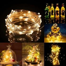 """Alambre de luz LED """"gota"""" con 3 pilas AA. 2 metros 20 led luz AZUL"""