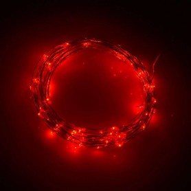 "Alambre de luz LED ""gota"" con 3 pilas AA. 2 metros 20 led luz ROJO"