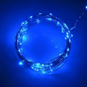 "Alambre de luz LED ""gota"" con 3 pilas AA. 2 metros 20 led luz ROSA"