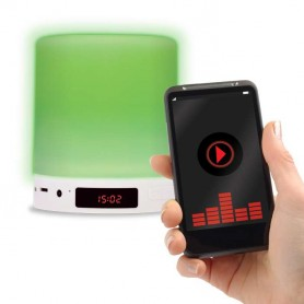 Altavoz bluetooth, reloj despertador, lampara LED Calida / RGB tactil