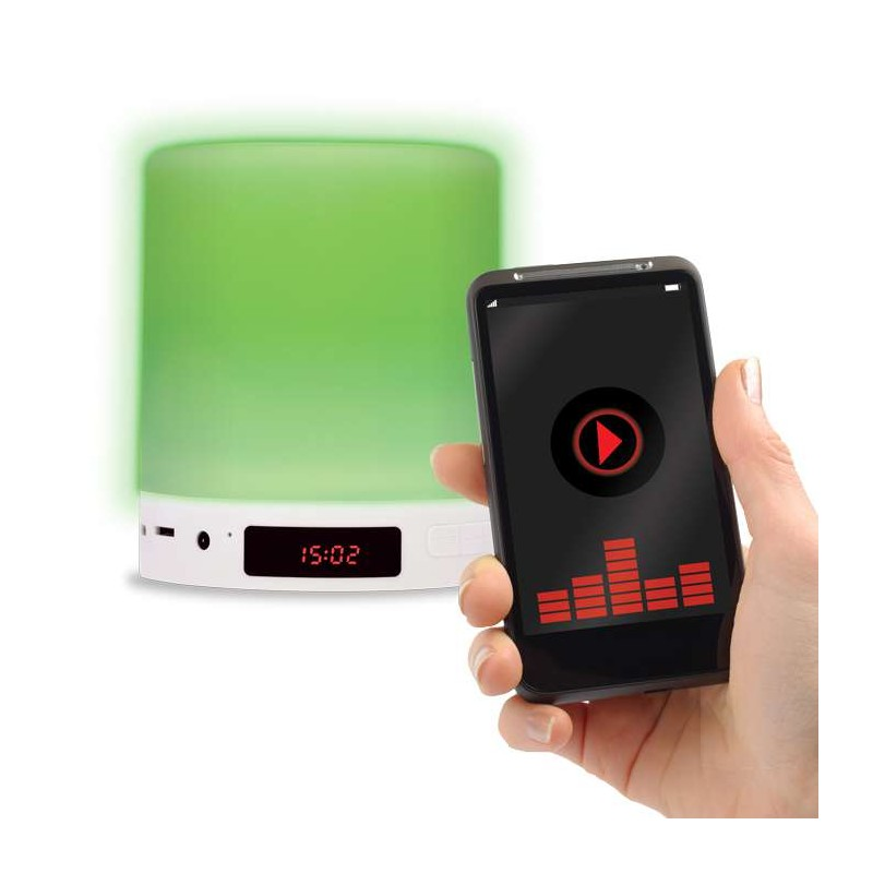 Altavoz bluetooth, reloj despertador, lampara LED Calida / RGB tactil