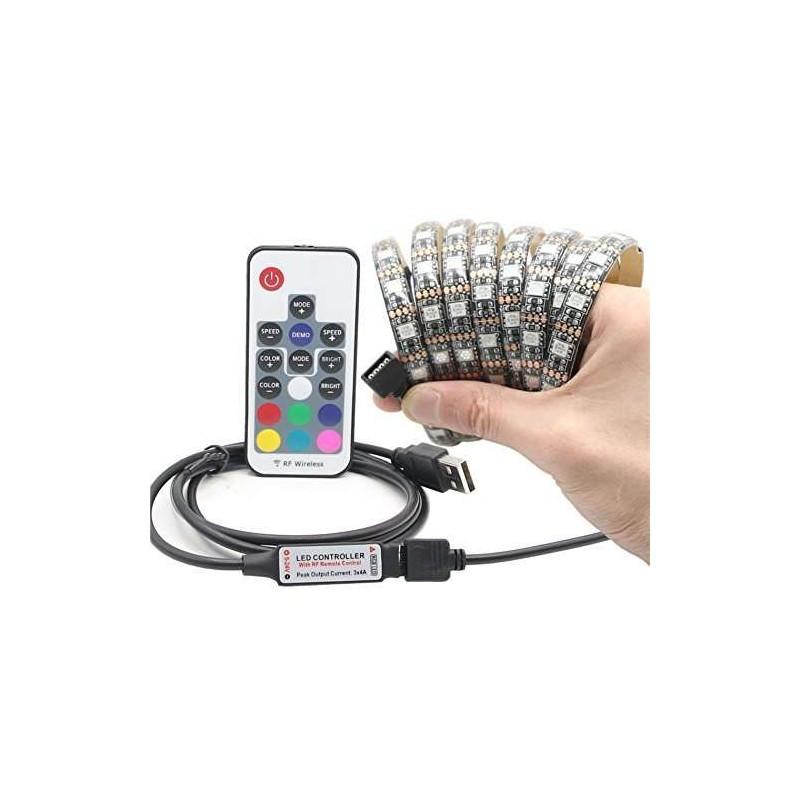 Tira de led rgb con mando a distancia y usb 1 metro 60 led - Luz con mando a distancia ...