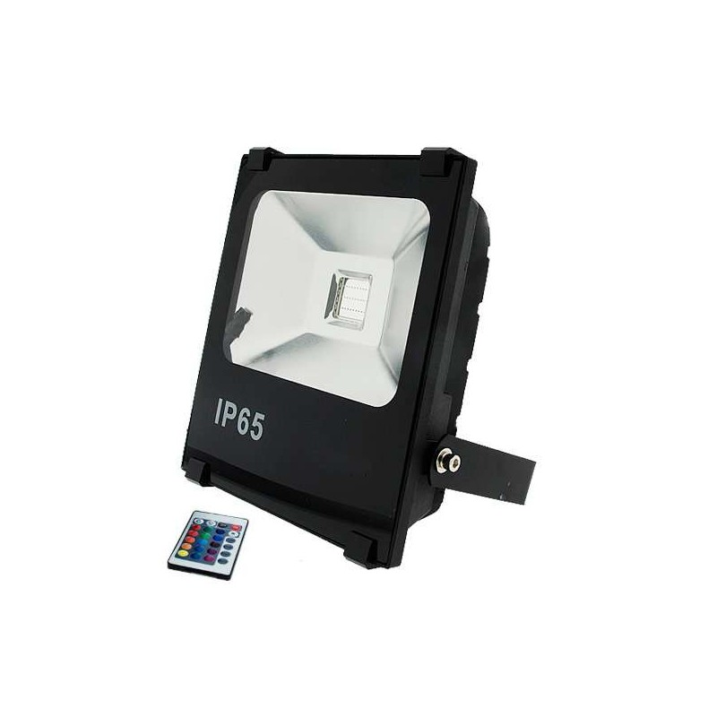 Foco reflector interior exterior ultrafino led 50w rgb con for Focos led exterior 50w