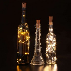 Tapón para botellas de cristal con alambre gota de 20 leds