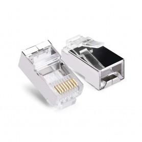 Conector Rj45 macho BLINDADO categoría 6 8 pin 8 conexiones por unidad
