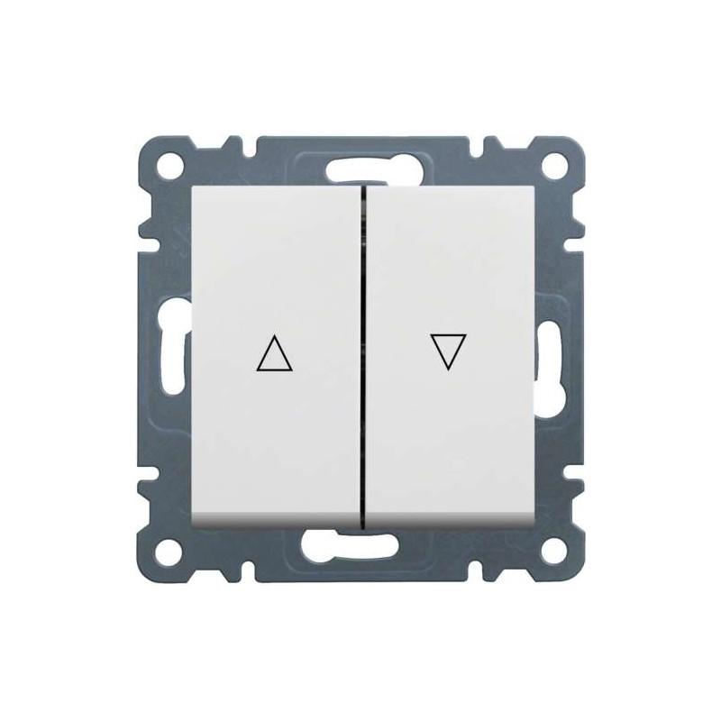Doble pulsador para persianas Hager LUMINA2 blanco polar