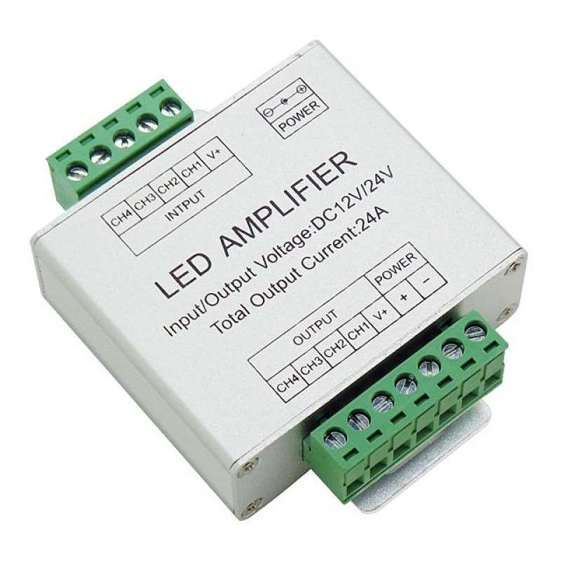 Amplificador de tiras de Led multicolor o RGBW 12 / 24v