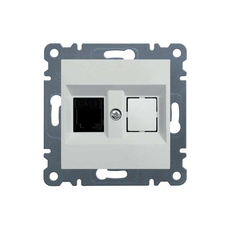 Tapa para 2 conectores teléfono RJ11 Hager LUMINA2 blanco polar