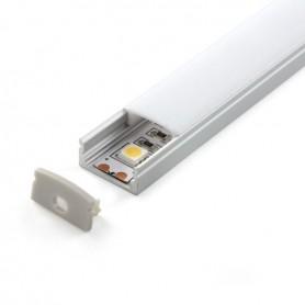 Perfil de aluminio para led LP1607 de 2m (con todos los accesorios incluidos)
