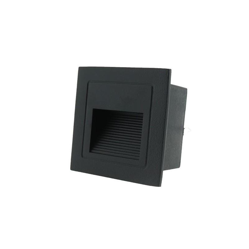 Baliza LED escalones, pared para exterior color negro, luz calida
