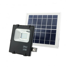 Foco con placa solar recargable LED 10w luz blanca 6000k