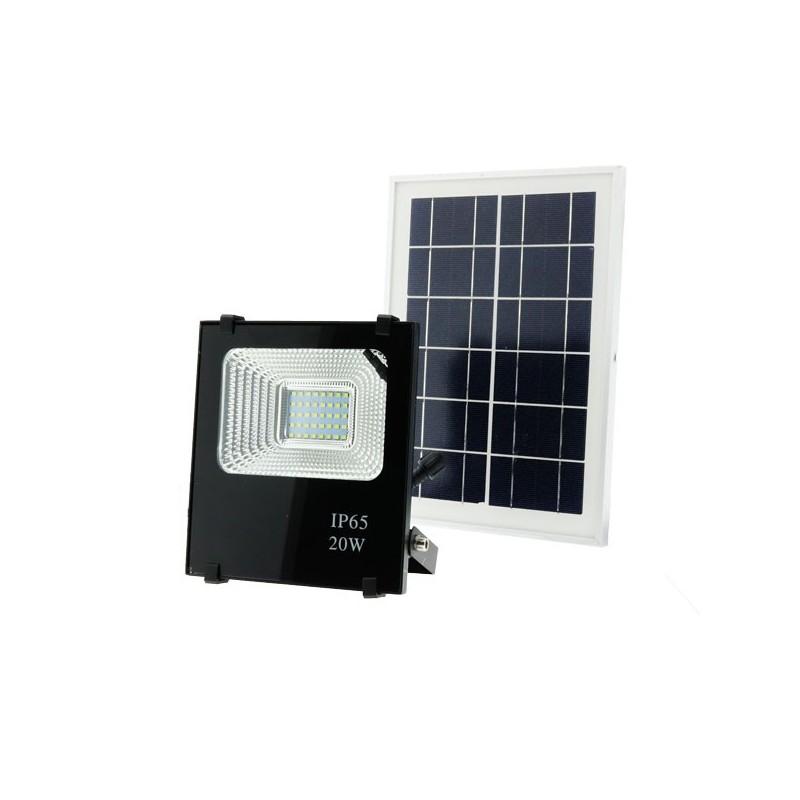 Foco con placa solar recargable LED 20w luz blanca 6000k