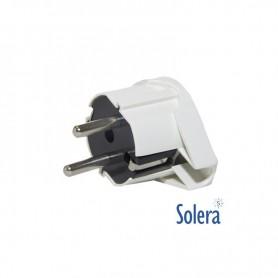 Clavija PVC acodada macho Solera 16A / 250V blanca