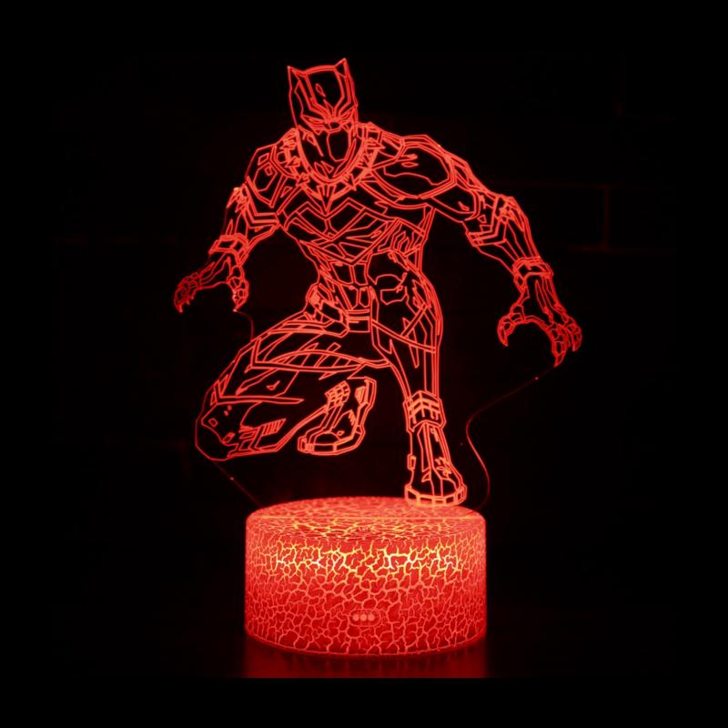 Lampara 3D de Escritorio super heroes cambio de color RGB varias formas metraquilato