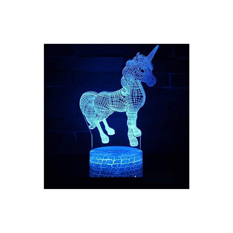 Lampara 3D de Escritorio Unicornios cambio de color RGB varias formas metraquilato
