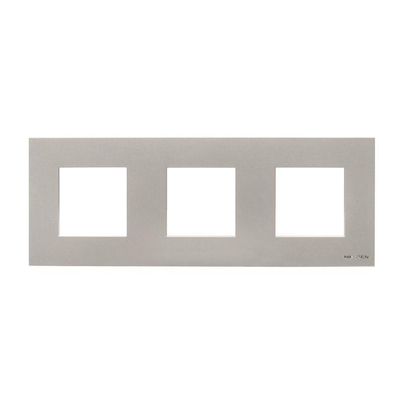 Marco de 3 elementos para serie Niessen Zenit plata N2273PL