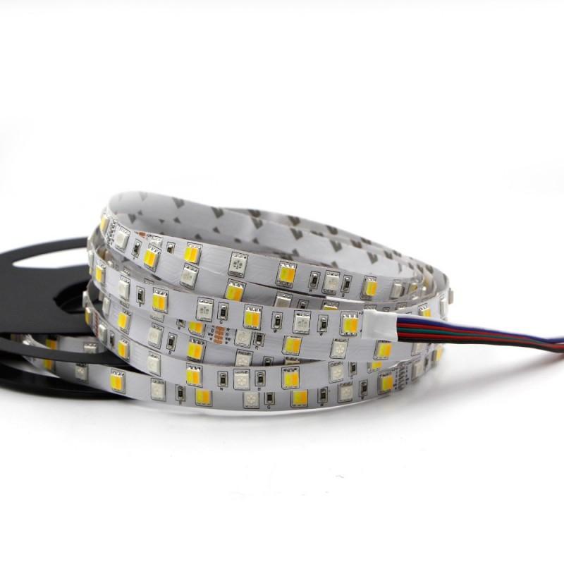 Tira de led flexible de 5 metros SMD 5050 60 led / m 5 en 1 RGB + CCT (frio / calido - RGB chip separados)