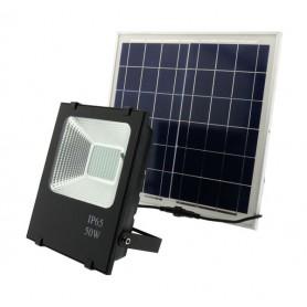 Foco con placa solar recargable LED 100w luz blanca 6000k