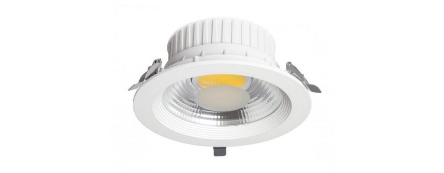 Downlight circular blanco y plata con led tipo COB