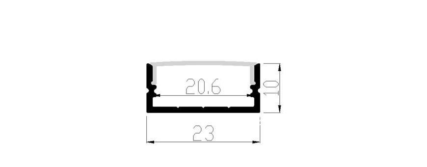 Perfil de aluminio LP2310 2310 doble ancho para colocar dos tiras 5050