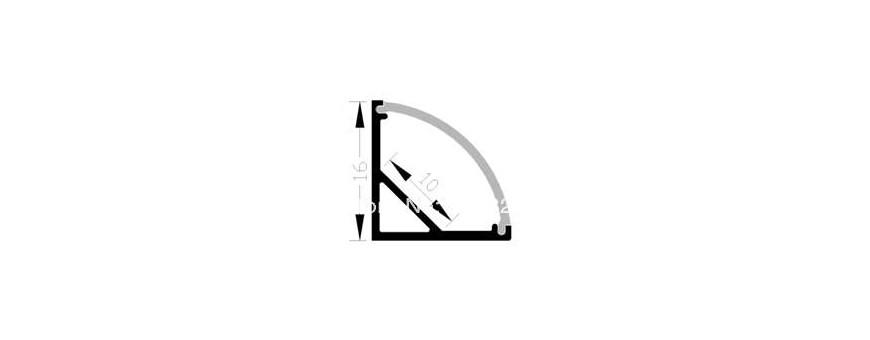 Perfil de aluminio anodizado modelo LP1616 para esquinas a 90º